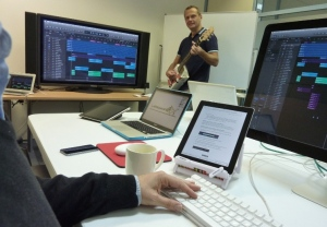 "Apple Certified Trainer, Andy Day, demos his guitar skills on a ""Blik"" Guitar during Labspace's Logic Pro X certification course held in Melbourne last week. At the end of the course the attendee passed the exam and now proudly advertisers his status as Apple Certified Pro. You can do the same – next Logic Pro X course is 25 – 27 June. Brisbane, Sydney, Adelaide and Perth – email Labspace if you want to have a Apple course delivered in your area"